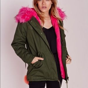 Missguided Pink And Green Parka Fur Trim Coat